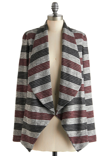 Road Trip Ready Cardigan by Jack by BB Dakota - Cotton, Multi, Red, Black, Grey, Stripes, Casual, Long Sleeve, Mid-length