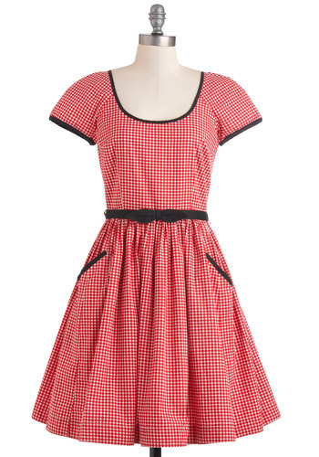 Ready to Meet Dress in Dots by Emily and Fin - Black, White, Polka Dots, Pockets, Casual, Short Sleeves, Belted, Mid-length, Cotton, Red, Trim, Fit & Flare, Bows, International Designer, Variation, Scoop