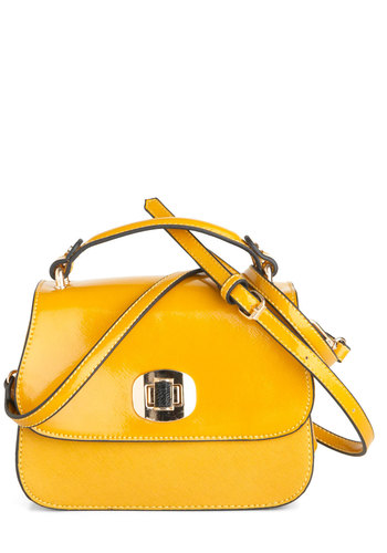 Glow All Out Bag by Melie Bianco - Yellow, Solid, Casual, Faux Leather