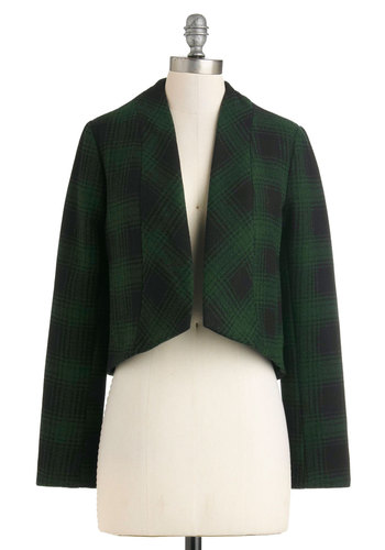 Plaid to Be There Blazer by BB Dakota - Green, Black, Pockets, Long Sleeve, 2, Fall, Short