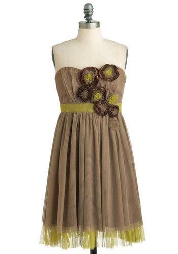 Feeling Rosette Dress by Ryu - Brown, Green, Flower, Wedding, Empire, Strapless, Mid-length, Cocktail, Sweetheart