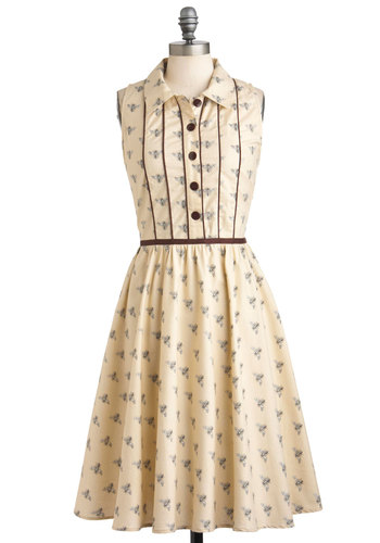 Gimme an A-piary Dress - Cream, Black, Print with Animals, Buttons, Casual, Shirt Dress, Sleeveless, Spring, Cotton, Long, Button Down, Collared, Fit & Flare