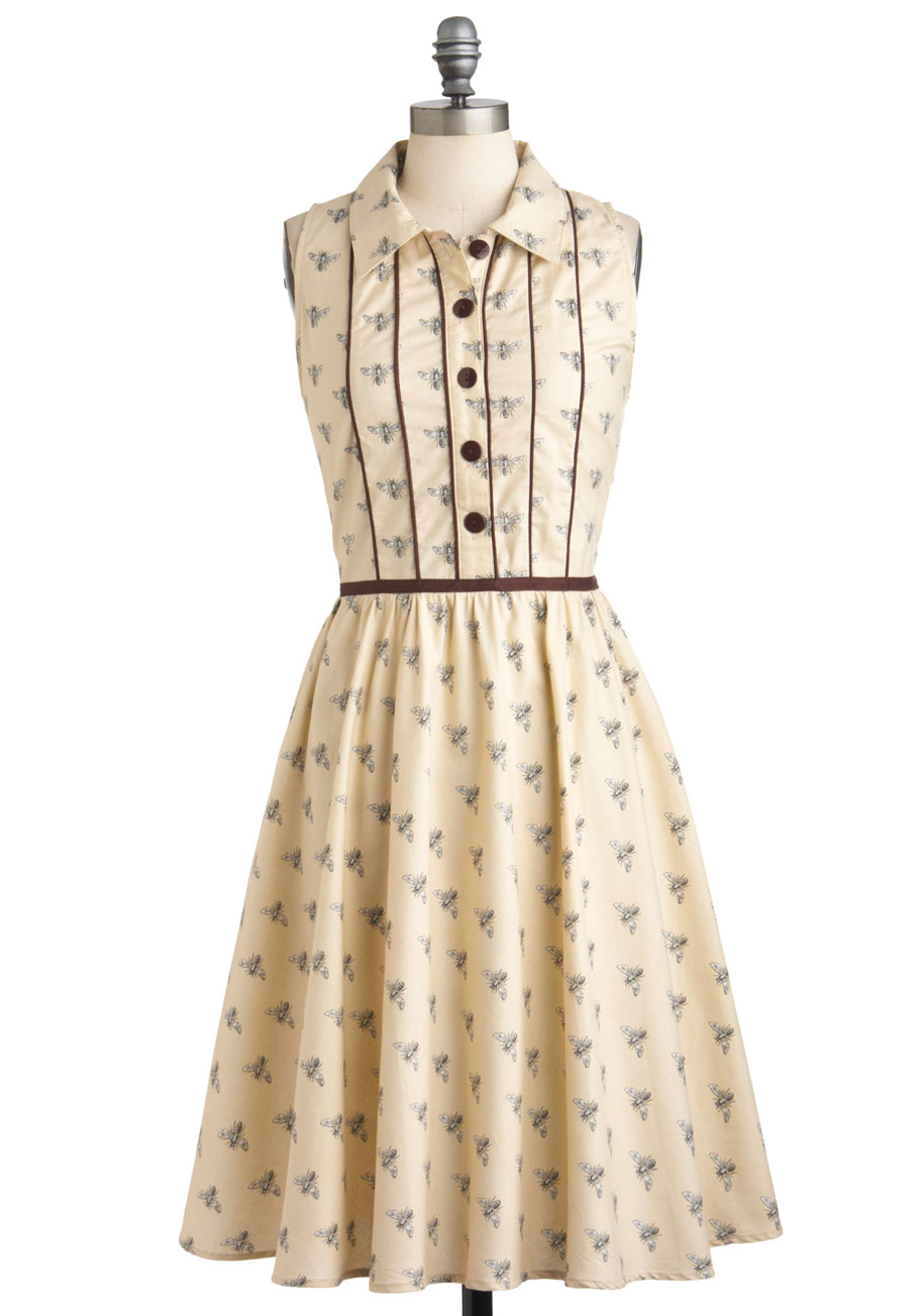Gimme an A-piary Dress - Cream, Black, Print with Animals, Buttons ...