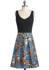 Stirrup the Party Dress - Blue, Multi, Novelty Print, Casual, A-line, Tank top (2 thick straps), Cotton, Long, Black, Fit & Flare, V Neck