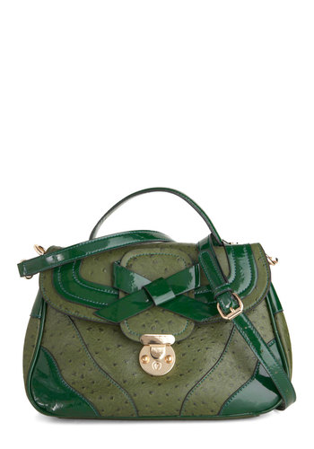 For the Moss Part Bag by Melie Bianco - Green, Solid, Bows, Party, Vintage Inspired, Luxe, Faux Leather