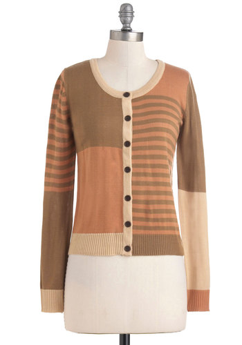 Scene in Sepia Cardigan - Stripes, Buttons, Long Sleeve, Short, Button Down, Colorblocking, Tan, Brown