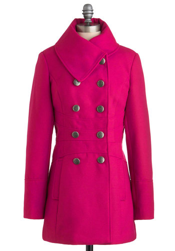 Magenta Agenda Coat - Pink, Solid, Buttons, Long Sleeve, Winter, Long, 3, Neon, Double Breasted