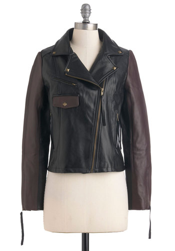 Ulterior Motors Jacket - Leather, Short, Black, Brown, Pockets, Studs, Girls Night Out, Long Sleeve, 3, Menswear Inspired, Urban