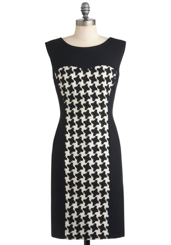 Stand the Tesserae of Time Dress - Mid-length, White, Houndstooth, Work, Shift, Sleeveless, Black, Vintage Inspired, 60s, Mod, Party