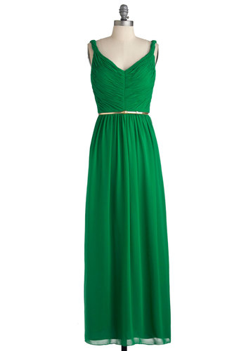 Enchanting Moment Dress - Chiffon, Long, Green, Gold, Solid, Belted, Ruching, Special Occasion, Wedding, Maxi, Sleeveless, Exclusives, Cocktail, Holiday Party, Vintage Inspired, V Neck, Prom, Bridesmaid, Press Placement