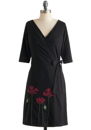 Planting Poppies Dress in Wrap - Mid-length, Black, Red, Green, Floral, Embroidery, Casual, Wrap, 3/4 Sleeve, Cotton, Eco-Friendly, V Neck, Work
