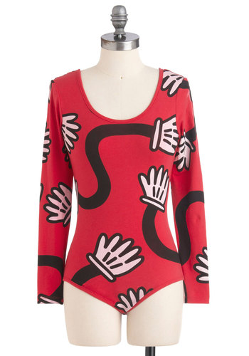 Gotta Jazz Hand It To You Bodysuit - Red, Black, White, Long Sleeve, Novelty Print, Casual, Mid-length, International Designer