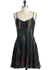 Outta Light Dress by Jack by BB Dakota - Black, Multi, Print, Party, 90s, Slip, Spaghetti Straps, Mid-length, Girls Night Out