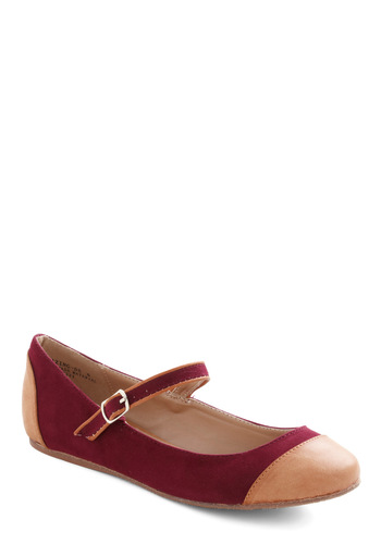 Dance Break Flat in Wine - Red, Tan / Cream, Flat, Mary Jane, Scholastic/Collegiate, Faux Leather, Variation