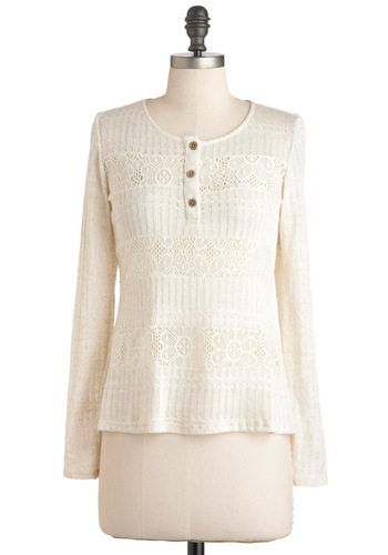 Going Moth Topic Top - Mid-length, White, Buttons, Long Sleeve, Knitted, Casual