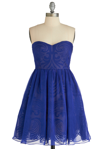 Syzygy Golly Dress - Blue, Print, Special Occasion, Party, A-line, Strapless, Cocktail, Mid-length, Fit & Flare, Sweetheart, Prom