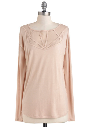 Picture Window Top in Pale Pink by Jack by BB Dakota - Sheer, Mid-length, Jersey, Pink, Solid, Casual, Long Sleeve