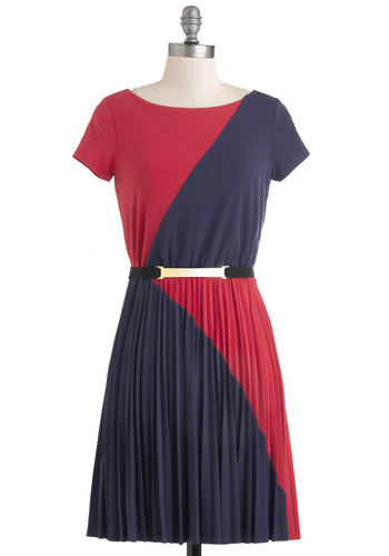Slant Get Enough Dress by Max and Cleo - Mid-length, Purple, Pink, Pleats, Belted, Colorblocking, A-line, Short Sleeves, Casual, Party, 70s