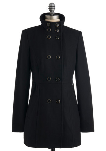Classic Copley Coat - Black, Solid, Long Sleeve, Long, Buttons, 3, Casual, Winter
