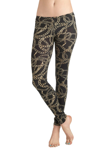 Send Me the Link Leggings - Jersey, Cotton, Casual, Vintage Inspired, 90s, Tan / Cream, Black, Print, Chain, Girls Night Out
