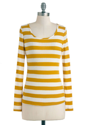 Day in Dijon Tee - Sheer, Mid-length, White, Stripes, Long Sleeve, Yellow, Casual, Jersey