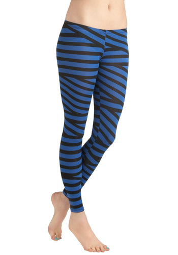 Tied Up In Style Leggings in Blue - Cotton, Black, Stripes, Casual, Vintage Inspired, 90s, Blue, Girls Night Out, Blue