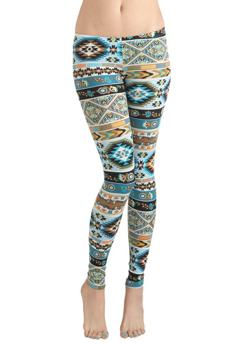 Girls Who Like Turquoise Leggings - Jersey, Cotton, Multi, Casual, Vintage Inspired, 90s, Multi, Print, Rustic
