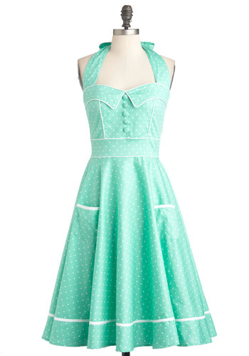 Miss Indie Dress - Cotton, Long, Green, White, Polka Dots, Buttons, Pockets, Daytime Party, Pinup, Pastel, Fit & Flare, Halter, Mint