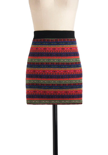 Impromptu Visit Skirt - Short, Cotton, Multi, Mini, Multi, Stripes, Casual, Fall, Knitted, Girls Night Out, Bodycon / Bandage