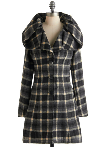 Historian Grey Coat by Ryu - Black, Grey, White, Plaid, Buttons, Long Sleeve, Long, 3