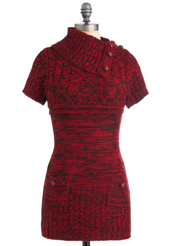 Afternoon Reading Dress in Red and Black - Short, Red, Black, Buttons, Pockets, Casual, Sweater Dress, Short Sleeves, Fall, Cowl, Variation
