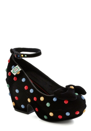 When in Dot Heel by Miss L Fire - Wedge, Mid, Black, Multi, Polka Dots, Bows, 40s, Statement, Girls Night Out, Holiday Party, Platform, Chunky heel, International Designer