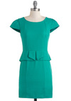 Seam Like Yourself Dress - Green, Solid, Work, Cap Sleeves, Peplum, Short