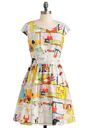 Sew It Would Seamstress Dress - Multi, A-line, Cap Sleeves, Mid-length, Cotton, Cutout, Vintage Inspired, 50s, Holiday Sale, Fit & Flare, Quirky, Novelty Print, Casual, Statement