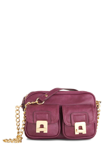 Double the Darling Bag by Melie Bianco - Solid, Chain, Purple, Faux Leather