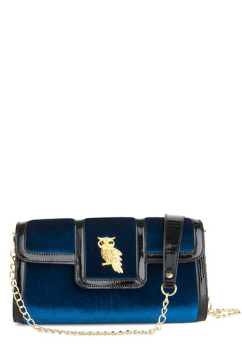 Owl All Night Clutch by Melie Bianco - Blue, Black, Solid, Chain, Trim, Owls, Rhinestones, Party, Girls Night Out