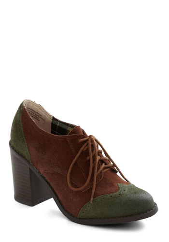Oxford Common Heel by BC Shoes - Mid, Leather, Suede, Brown, Green, Menswear Inspired, Lace Up, Chunky heel, Scholastic/Collegiate