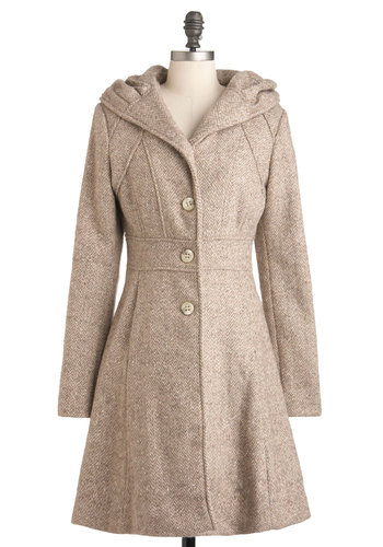 Something to Groove Coat - Tan, Solid, Buttons, Long Sleeve, Fit & Flare, Long, 3