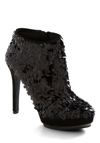 Worn This Way Bootie - Black, Sequins, High, Girls Night Out, Statement, Glitter, Cocktail, Holiday Party, Platform