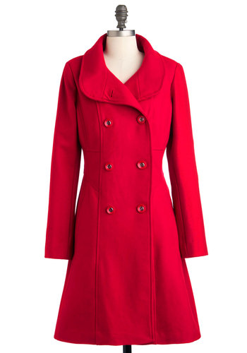 Ferry Tale Coat - Red, Solid, Buttons, Long Sleeve, Winter, Long, 3, Holiday Party, Vintage Inspired, Double Breasted