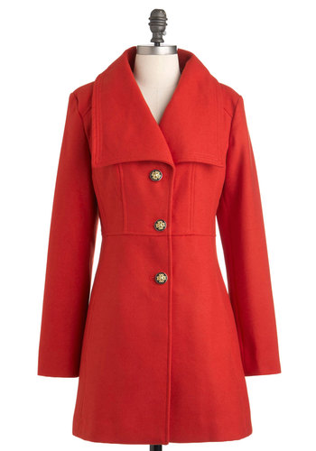 Very Important Persimmon Coat - Red, Orange, Solid, Buttons, Long Sleeve, 3, Fall, Coral, Long
