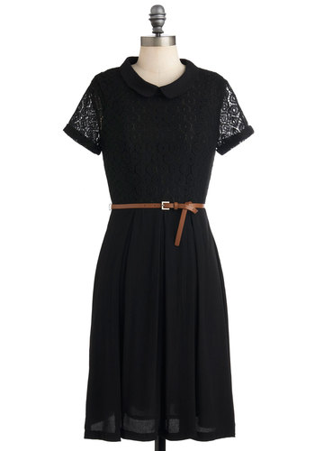 Debut Gig Dress - Sheer, Mid-length, Black, Solid, Buttons, Lace, Peter Pan Collar, Belted, Work, Casual, Short Sleeves, Fall, Scholastic/Collegiate, Collared
