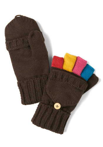 Unexpected Spectrum Convertible Gloves - Brown, Multi, Solid, Winter, Knitted