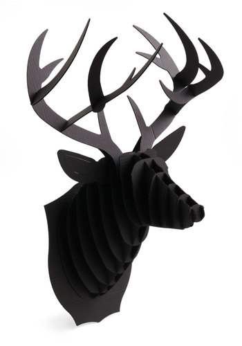 Questions and Antlers Buck Trophy - Black, Dorm Decor, Quirky, Good, Halloween, Folk Art, Holiday, Under $20, Woodland Creature, Rustic, Press Placement