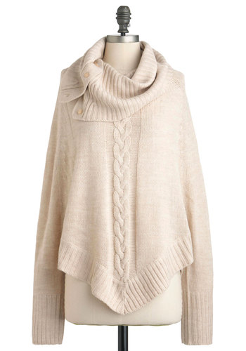 Cafe at the Crest Sweater - Tan, Grey, Solid, Buttons, Knitted, Long Sleeve, Mid-length, Casual, Rustic, Fall, Cowl