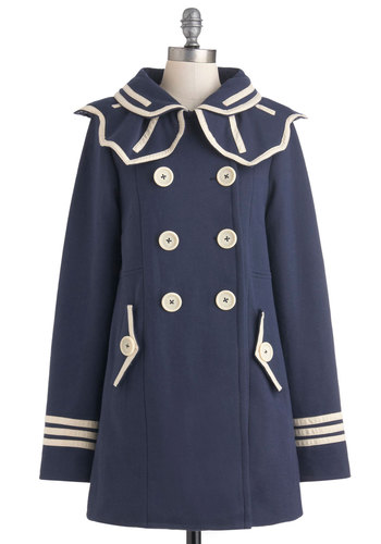 Ships of the Trade Coat by Knitted Dove - 2, Blue, Tan / Cream, Buttons, Pockets, Nautical, Long, Exclusives, Casual, Vintage Inspired, Fall
