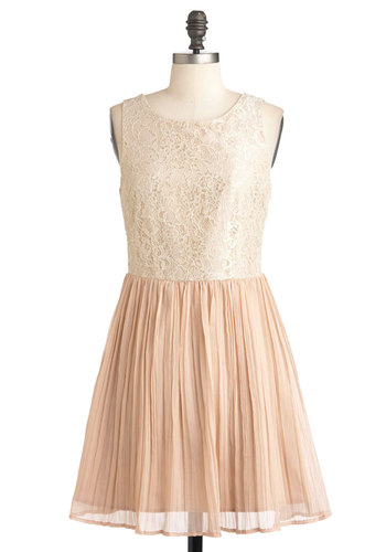 Chiffon Occasion Dress by Jack by BB Dakota - Lace, Pleats, Wedding, Sleeveless, Fairytale, Chiffon, Mid-length, Pink, Party, Tan / Cream, A-line