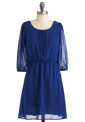 Closing Day Dress - Blue, Solid, Pleats, Work, Casual, A-line, 3/4 Sleeve, Fall, Mid-length, Vintage Inspired, Sheer