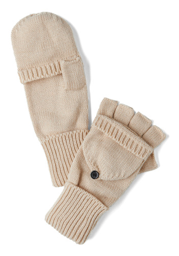 Sled by Example Convertible Gloves in Oatmeal - Tan, Solid, Knitted, Winter