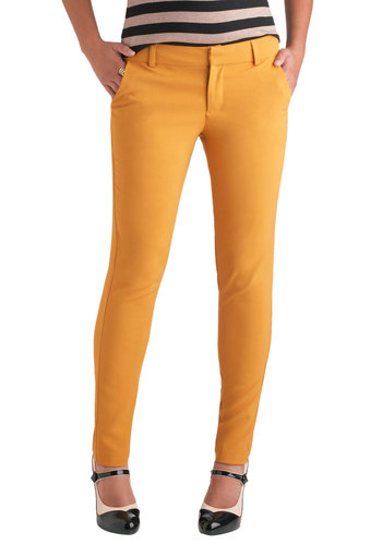 Turmeric to Work Pants - Yellow, Pockets, Casual, Skinny, Short